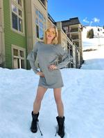 "Sophie looking not quite suitably attired for the snow...""Back with my bestie @oscargordon in Canada! Feels like summer but there's snow."" Picture: Sophie Monk / Instagram"