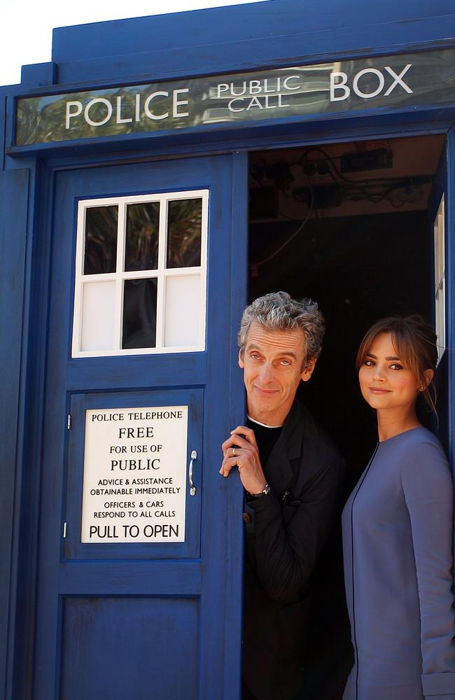 The Twelfth Doctor ... Peter Capaldi, poses with his on-screen companion Jenna Coleman during a world tour to promote the new series of Doctor Who in Sydney. Picture: Lisa Maree Williams/Getty Images