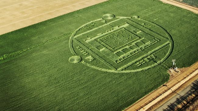 "This photo provided by NVIDIA shows a 310-foot ""crop circle"" in a California barley field."