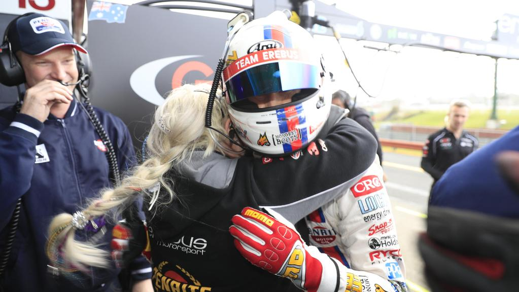 Betty Klimenko hugs David Reynolds after setting the fastest time in qualifying at the Sandown 500. Pic: Mark Horsburgh