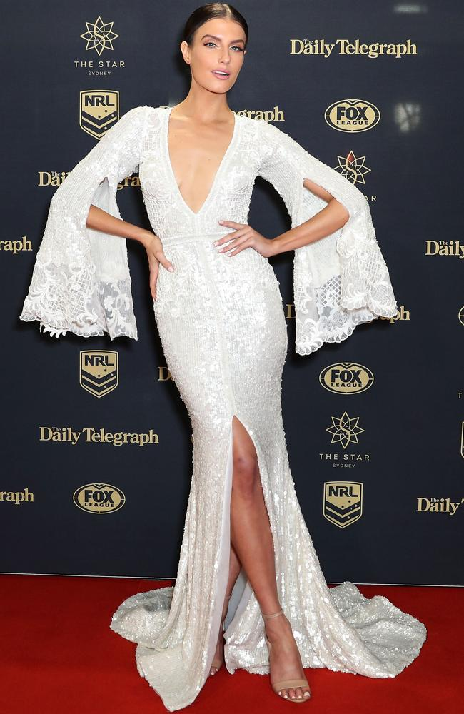 Plunging neckline, check. Thigh high split, check. Picture: Mark Metcalfe/Getty Images