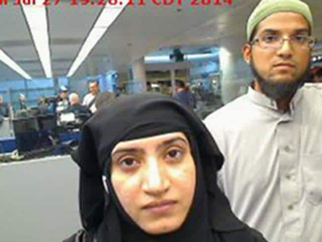 San Bernardino shooters ... Tashfeen Malik, left, and Syed Farook. Picture: Supplied.