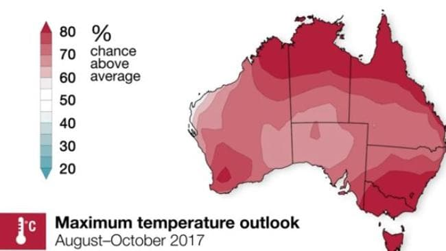Temperatures will likely be above average for the next three months. Picture: Bureau of Meteorology