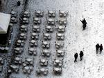 Aerial view of people walking on the snow-covered St Mark's square in Venice on February 28, 2018 after a overnigth snowfall. Picture: AFP