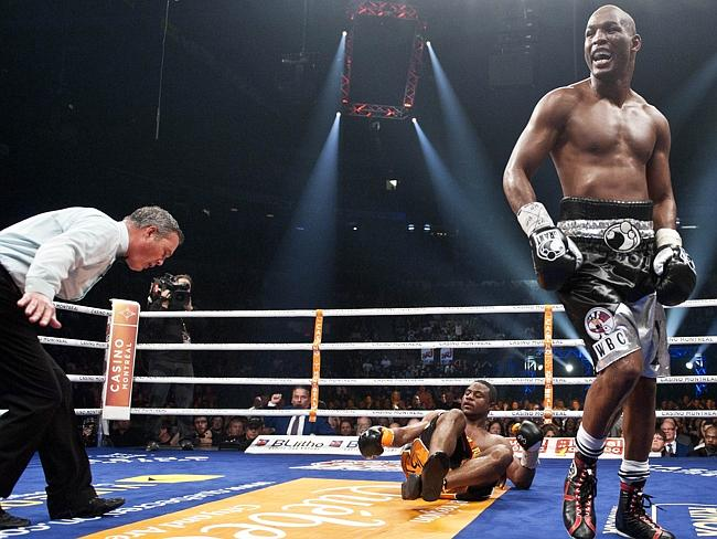 Bernard Hopkins (R) reacts after put Jean Pascal on the floor in 2010.