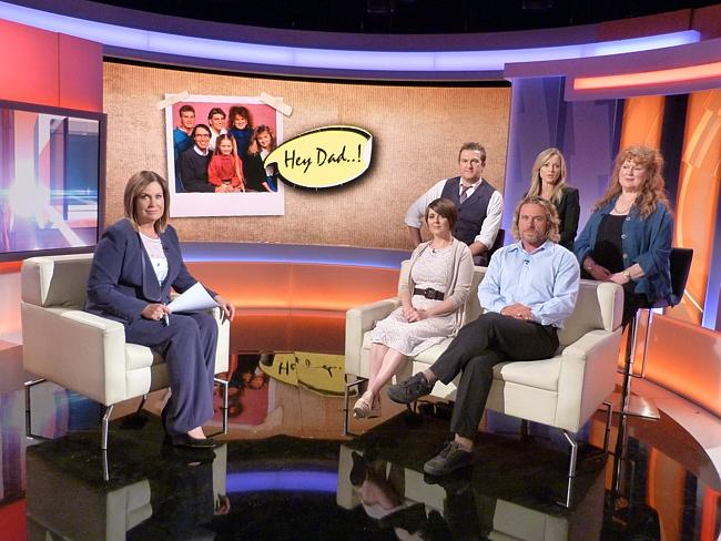 Hughes guilty ... A Current Affair host Tracy Grimshaw with some of the cast of Hey Dad!