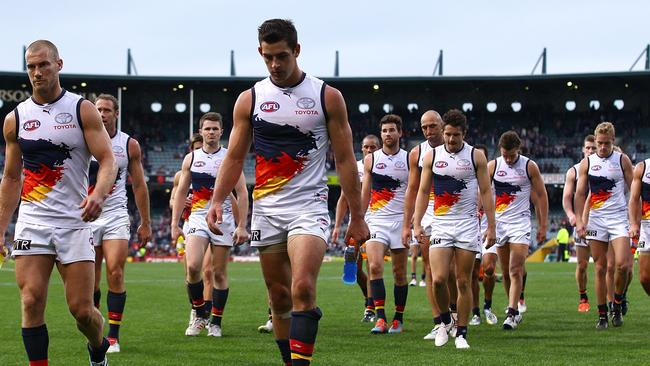 Adelaide players trudge off Patersons Stadium on Sunday.
