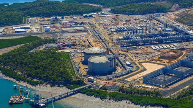 View of one of the three giant CSG plants being built on Curtis Island. Pic: Above Photography