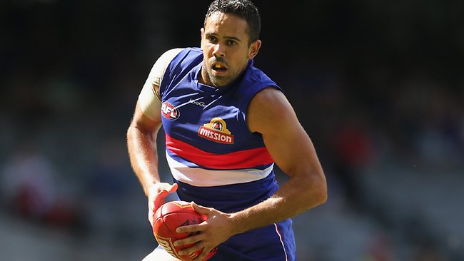 Bulldogs backman Brett Goodes bursts out of defence.