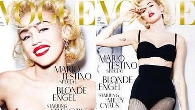 """Blonde angel #mariotestino #germanvogue"" tweeted Miley Cyrus."