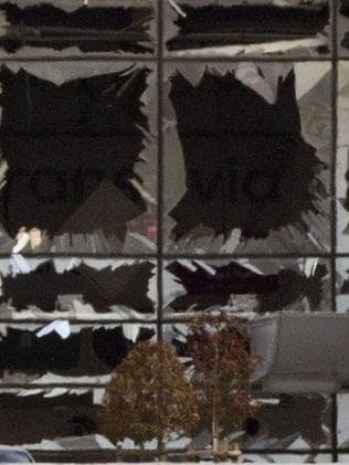The blown out windows of Zaventem airport. Picture: Peter Dejong/AP