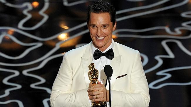 Matthew McConaughey accepts the Best Performance by an Actor in a Leading Role award for 'Dallas Buyers Club' (Photo by Kevin Winter/Getty Images)