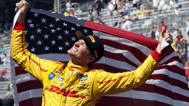Hunter-Reay celebrates after winning the Indy 500.