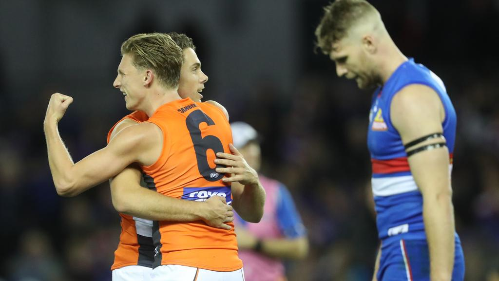 Lachie Whitfield celebrates a goal. Picture: AAP
