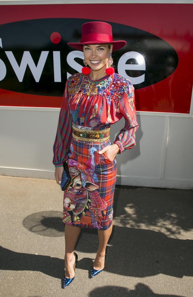 Ashley hart outside the Swisse Marquee. Picture: ©MEDIA-MODE.COM