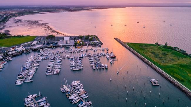 A bird's eye view of the Scarborough marina in the Moreton Bay region. Picture: Lynne Broughton.