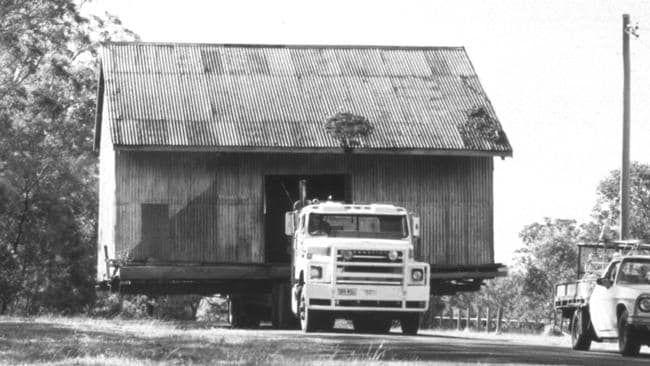The original Ray White shed being moved prior to the centenary.