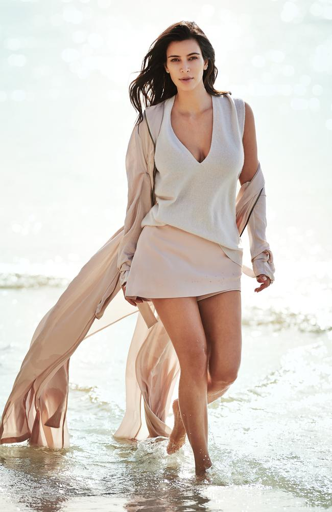 Kim Kardashian West photographed for Vogue Australia on a beach in NSW for the February 2015 issue. Picture: Gilles Bensimon/Vogue Australia
