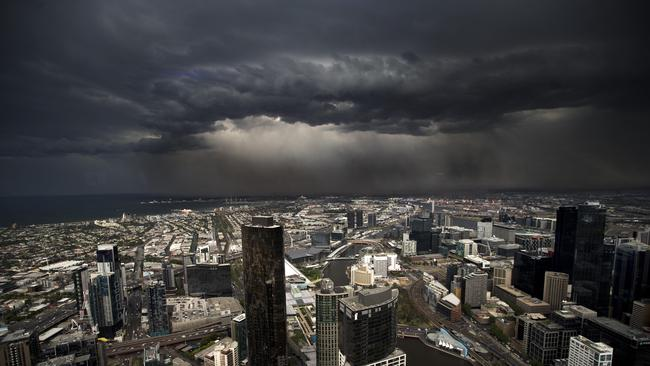 The storm front hits the city. Picture: Norm Oorloff