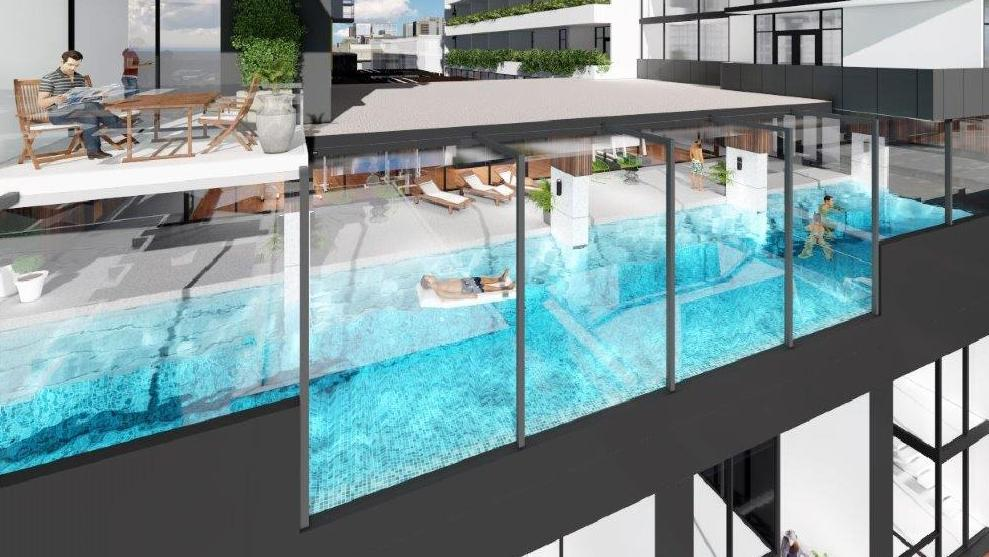 Twenty storey west franklin complex to incorporate for Domestic swimming pool design