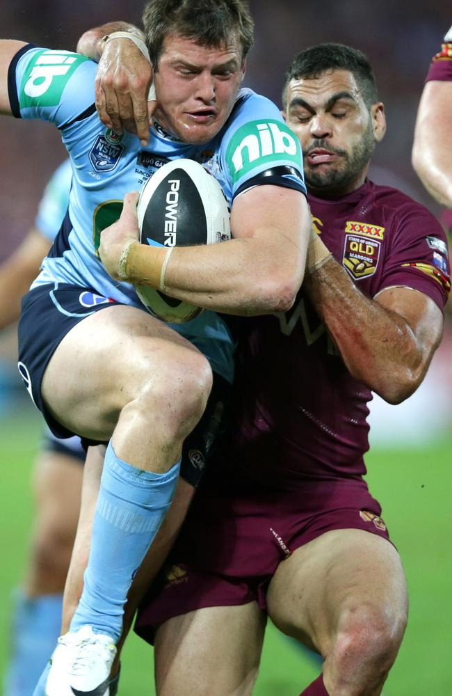 Josh Morris and Greg Inglis both pulled some funny faces during Origin I.