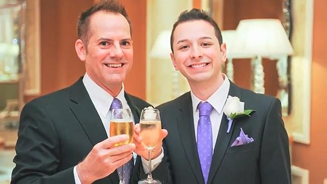 Mr Mango (right) at his wedding with husband Jeff Myers.