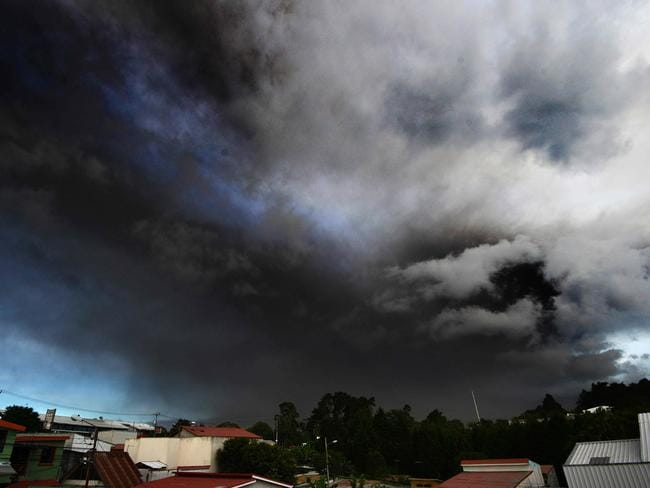 View of ash spewed by the Turrialba volcano in Cartago, 35 Km east of San Jose. Picture: AFP