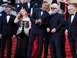 "Jury members Gabriel Yared, Jessica Chastain and Will Smith President of the jury Pedro Almodovar and Director of the Cannes Film Festival Thierry Fremaux attend the ""Ismael's Ghosts (Les Fantomes d'Ismael)"" screening and Opening Gala during the 70th annual Cannes Film Festival at Palais des Festivals on May 17, 2017 in Cannes, France. Picture: Getty"