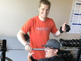 Injured BMX star Sam Willoughby continues his one on one rehabilitation at his San Diego home in a bid to walk again. Picture: Supplied.