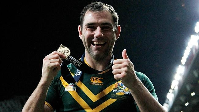 Cameron Smith of Australia celebrates with his winners medal after the Rugby League World Cup final between New Zealand and Australia at Old Trafford.