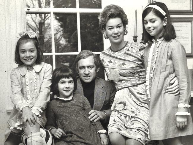 Ms Peacock has been in the public eye since she was a child. Pictured left at age 8 with father Andrew mother Susan and their children sisters Jane, 6, and Caroline, 9.