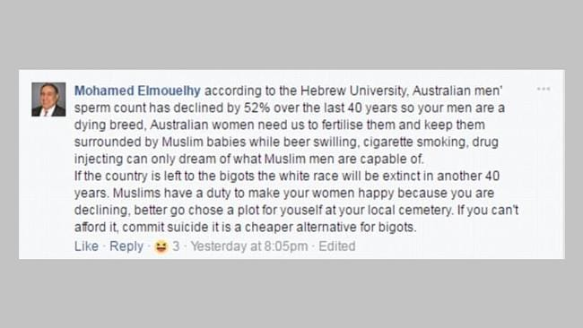 Mr Elmouelhy's Facebook comment on fertility rates.