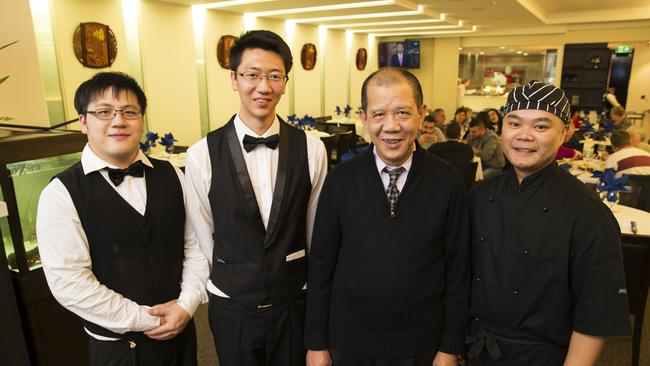 Jack Chen, chef George Liang, Sam Tan and Terrence Tang at Grand Terrace Restaurant.