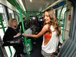 <p>Ruby Rose had a pop up fashion show on a tram for the MSFW Picture: Ellen Smith</p>