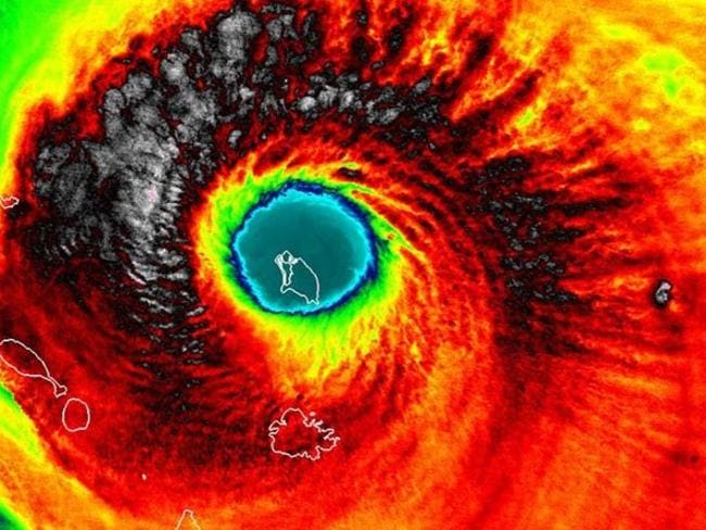 Image of Hurricane Irma over the Caribbean with the island of Barbuda in the storm's eye.
