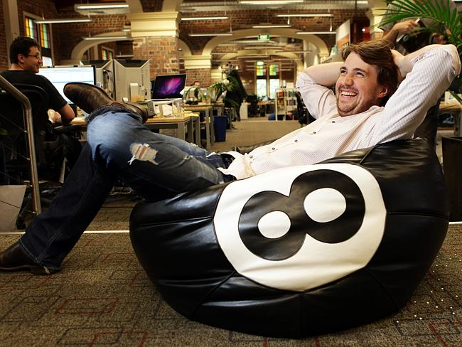 Life is good for Atlassian-co founder Mike Cannon-Brookes, pictured at his office in Sydney.