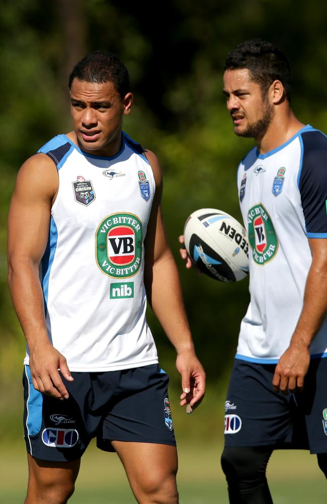Will Hopoate and Jarryd Hayne during NSW Blues Origin training.