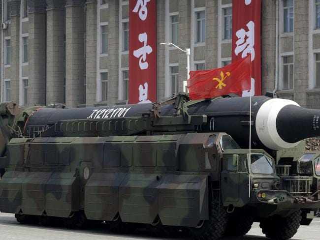 A missile that analysts believe could be the North Korean Hwasong-12 is paraded across Kim Il Sung Square in Pyongyang in April. This week intelligence documents showed North Korean plans are further along than anticipated. Picture: AP Photo/Wong Maye-E, File