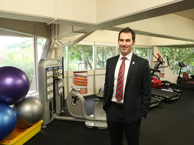 Fitness first ... John Bale opening new gym provided by Soldier On at St John of God hospital at Richmond in NSW.