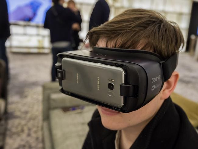 Samsung will launch a new Gear VR headset with controller for the Samsung Galaxy S8 and S8+, unveiled in New York. Picture: Supplied
