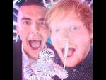"Behind The Scenes 2014 MTV VMAs... Singer Ed Sheeran, "" Won my first American award tonight. Fanks MTV and big up Emil nava coz he's a bo$$"" Picture: Instagram"