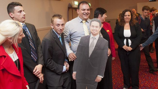Fellow Greenway candidates tout a cardboard cutout of Mr Diaz at an election forum at Blacktown RSL. Picture: The Rouse Hill Times and Blacktown Advocate