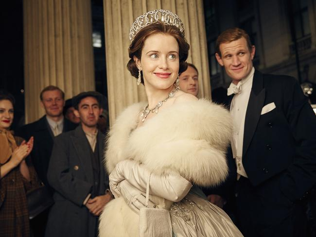 Claire Foy and Matt Smith in The Crown. Picture: Netflix.