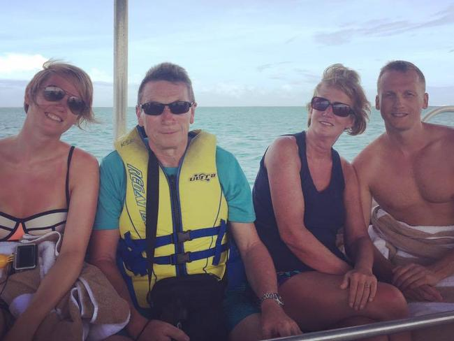 Gary Beer, right, had been holidaying on the island with, from left, his sister Sophie, father David and mother Christa.