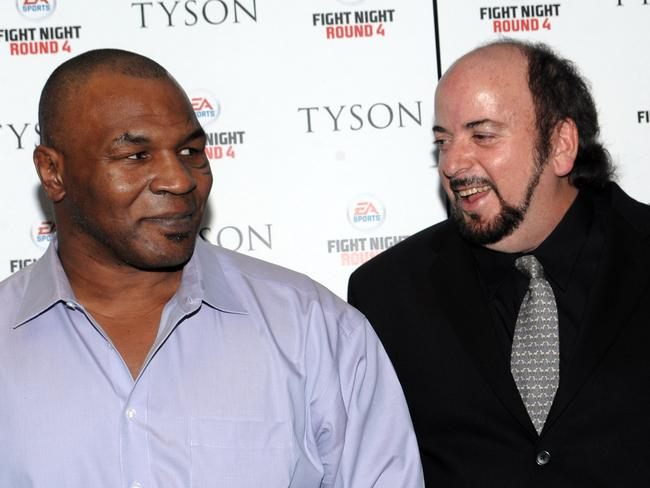 Former world heavyweight champion boxer Mike Tyson (left) and director James Toback attend a special screening of 2009 film Tyson in New York. Picture: Supplied
