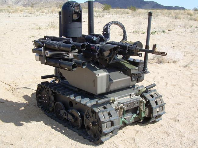 This Modular Advanced Armed Robotic System is an unmanned vehicle designed for combat.
