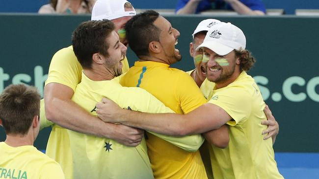 Nick Kyrgios starred in Australia's Davis Cup win over the United States in Brisbane. Picture: AAP