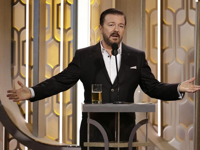 Having a go at her ... Ricky Gervais hosts the 73rd Annual Golden Globe Awards. Picture: NBC via AP