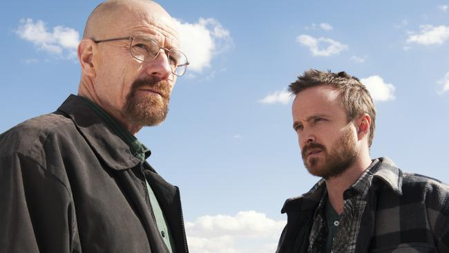 Point of no return ... Bryan Cranston, pictured with Aaron Paul, began his downward spiral when he gave up teaching for meth dealing.