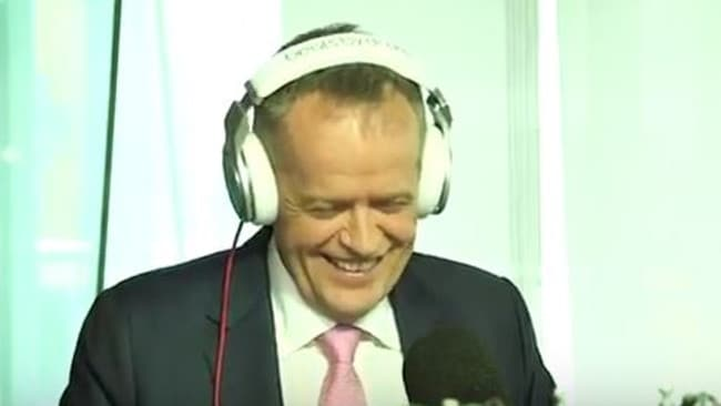 Bill Shorten has a laugh in the studio with Fitzy and Wippa.